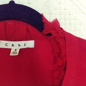 [CAbi] Red Ruffled V-Neck Cardigan - S